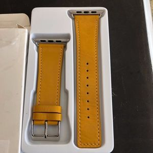 Yellow Leather Apple Watch Band